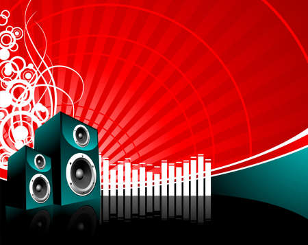 vector music illustration with speaker on red background Vector