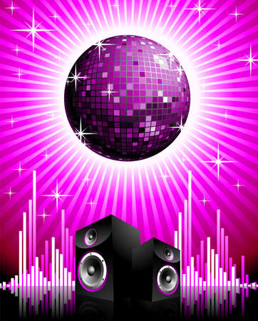 disco background: Vector illustration for musical theme with speakers and disco ball. Illustration