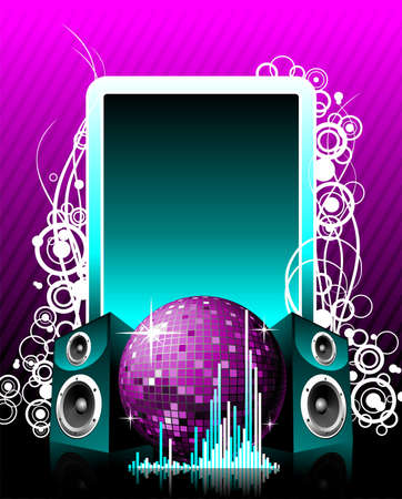 vector illustration for musical theme with speakers and disco ball on text space. Vector