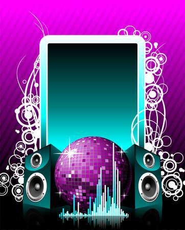 Vector illustration per tema musicale con altoparlanti e discoteca palla sul testo spazio.
