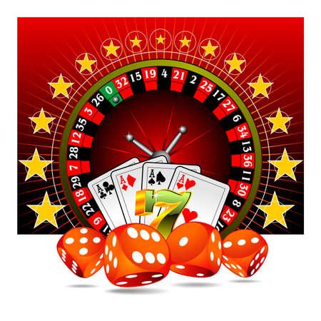 roulette: Ilustraci�n con elementos de casino de juegos de azar  Vectores