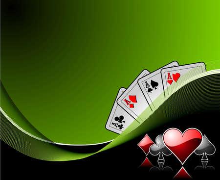 cartas de poker: Fondo con elementos de casino de juegos de azar