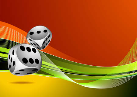 lasvegas: casino illustration with two dice on color background