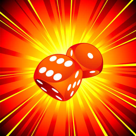 gambling illustration with two red dice on shiny background. Stock Vector - 7275150