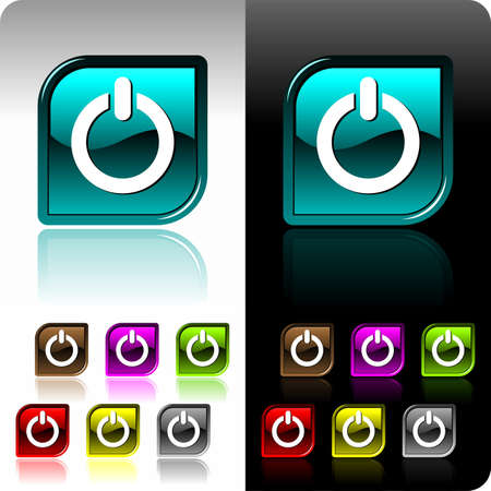 Shiny  color button set with seven color variation Stock Vector - 7275160