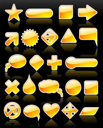 brightly yellow, glossy web shapes collection with reflection on black background. Vector