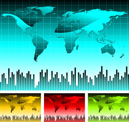 afrika: world map illustration with four color variation. Stock Photo
