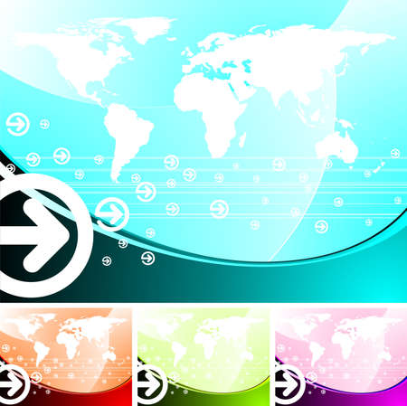 business illustration with world map. Four color variation. illustration
