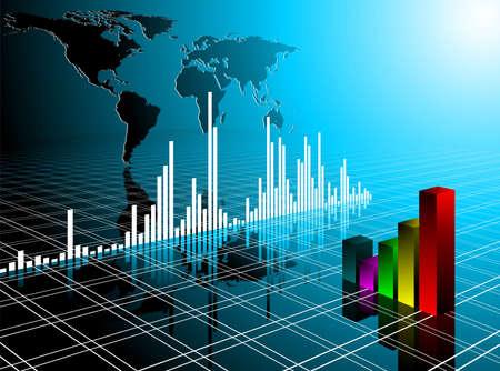 contabilidad financiera: Ilustración de negocio con el mapa del mundo sobre fondo azul.  Foto de archivo