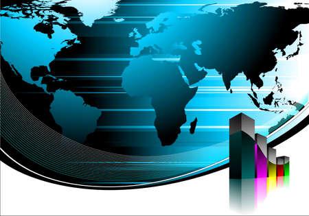 business illustration with world map  on blue background. illustration