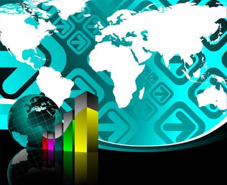 business illustration with world map  on blue background. Stock Illustration - 7292076