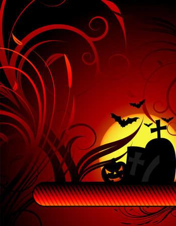 illustration on a Halloween theme with pumpkin illustration