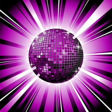 mirror reflection: music illustration with shiny disco ball.