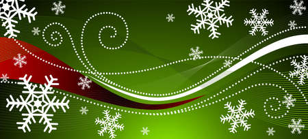 Christmas illustration with snowflakes on green background Illustration