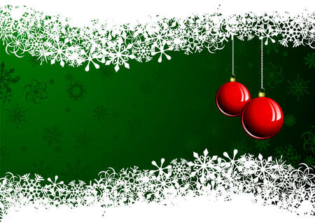 holiday:  Christmas illustration with red ball on green background Illustration