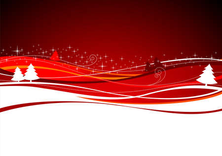 Christmas landscape with tree on red background Ilustracja
