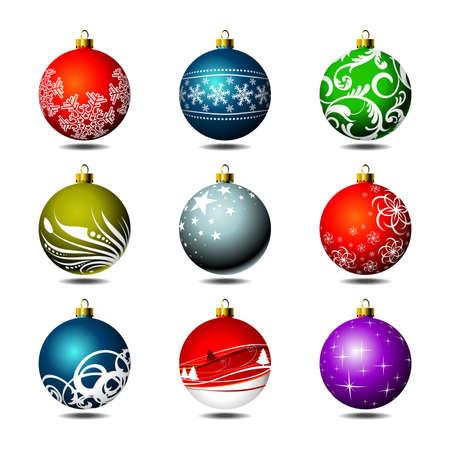 Nine isolated christmas ball on white background.