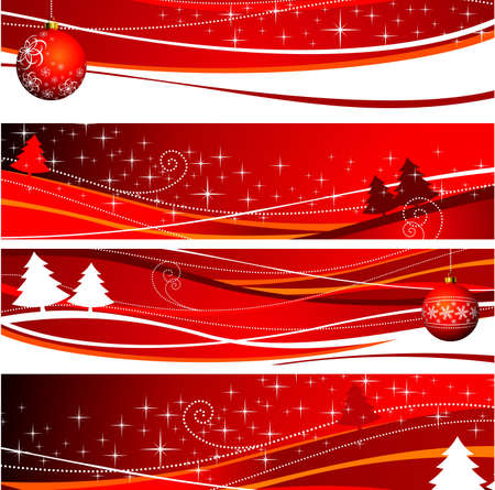 winter wallpaper: Four christmas banner illustration with red ball and tree.