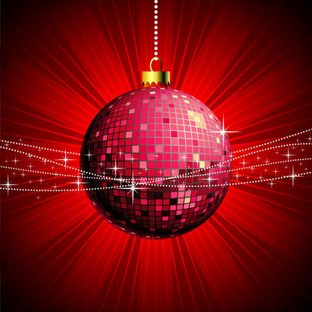 Christmas illustration with shiny ball and disco style Vector