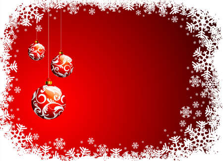 Christmas illustration with red glass ball and snowflakes.