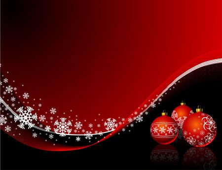 Illustration de Noël avec boule rouge et les flocons de neige