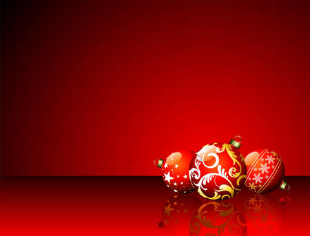 Christmas illustration with red balls on red background Vector