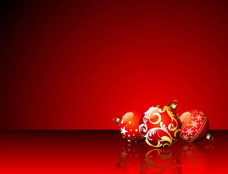 Illustrazione di Natale con le palle rossi su sfondo rosso