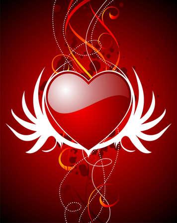 wallpapper: Illustrazione di San Valentino con lucida Cuori rossi e le ali.
