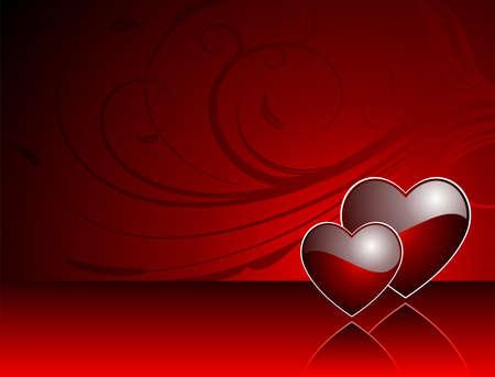 wallpapper: Illustrazione di San Valentino con cuore rosso lucido.