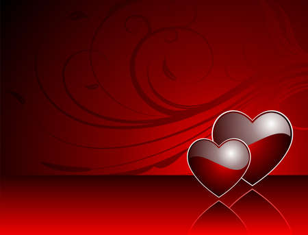 Valentine's day illustration with glossy red hearts. Stock Vector - 7316264