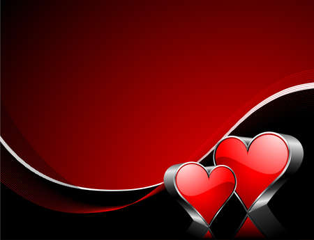 Valentine's day illustration with glossy red hearts. Stock Vector - 7316265