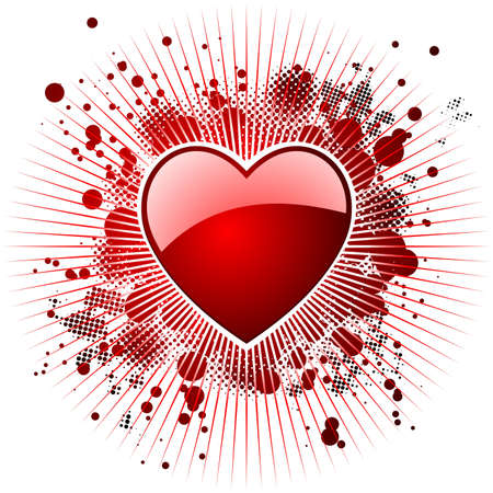 Valentine's day illustration with glossy red hearts. Stock Vector - 7316299
