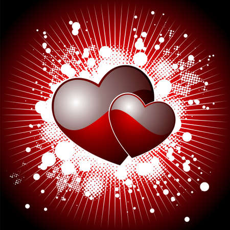Valentine's day illustration with glossy red hearts. Stock Vector - 7316298