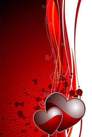 Valentine's day illustration with glossy red hearts. Stock Vector - 7316271