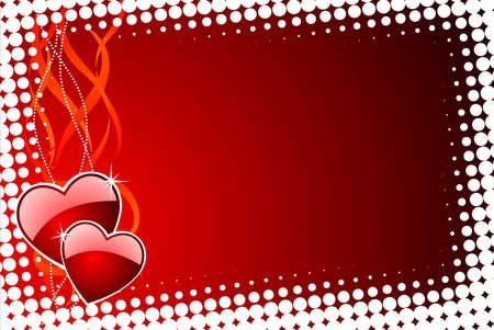 wallpapper: Illustrazione di San Valentino con lucida Cuori rossi