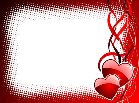 Valentine's day illustration with glossy red hearts Stock Vector - 7316277
