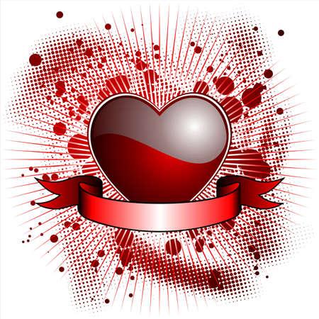 wallpapper: Illustrazione di San Valentino con cuore rosso lucido e nastro  Vettoriali