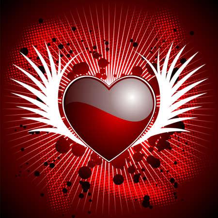 wallpapper: Illustrazione di San Valentino con cuore lucida e ali su sfondo rosso.