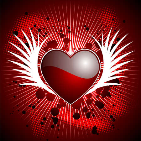 wallpapper: Valentines day illustration with glossy heart and wings on red background.