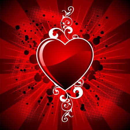 wallpapper: Illustrazione di San Valentino con lucida cuore simbolo su sfondo rosso.  Vettoriali