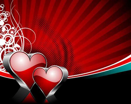 wallpapper: Illustrazione di San Valentino con cuore lucida simboli su sfondo rosso.