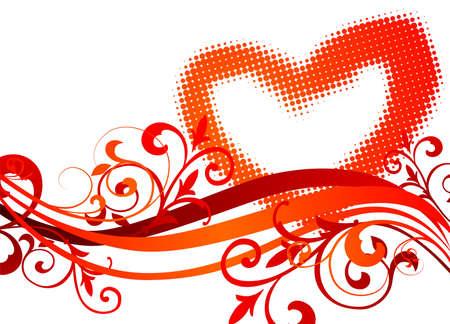 wallpapper: Illustrazione di San Valentino con simboli di cuore e motivo floreale.