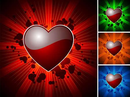 wallpapper: Illustrazione di San Valentino con cuore rosso lucido con variazione di quattro colori Vettoriali