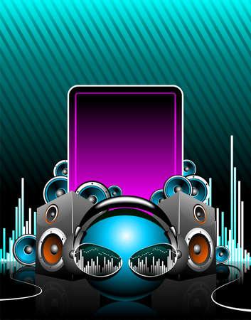 speaker box: ilustraci�n para el tema musical con espacio de texto.  Vectores