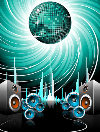 dj headphones:  illustration for a musical theme with speakers and disco ball.