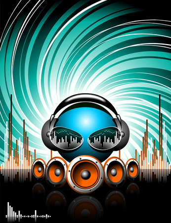music loudspeaker: illustration for a musical theme with speakers and abstract music head on grunge background. Illustration