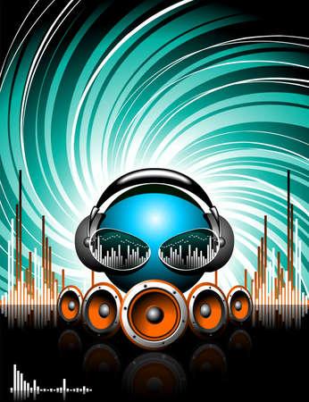 speaker box: Ilustraci�n de un tema musical con altavoces y cabeza de m�sica abstracta sobre fondo de grunge.