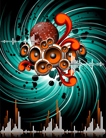 mirrorball: illustration for a musical theme with speakers and mirrorball on grunge background.