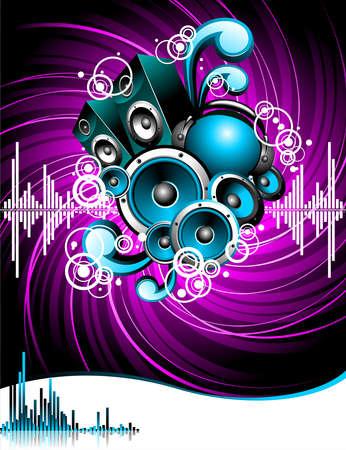 musica electronica: Ilustraci�n de un tema musical con altavoces y cabeza de m�sica abstracta sobre fondo de grunge.