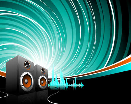 illustration for a musical theme with speakers on grunge background. Vector